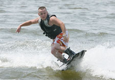 wake board on lake