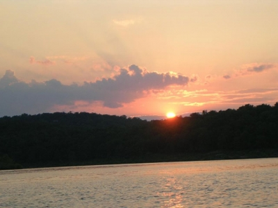 Sunset on lake