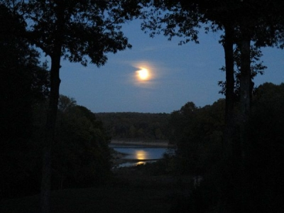 Moonrise over Norfork Lake cove.