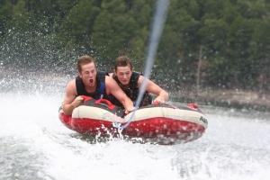 Boys tubing on Norfork lake