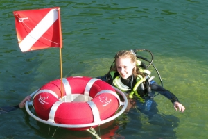 Girl scuba diving in Norfork Lake